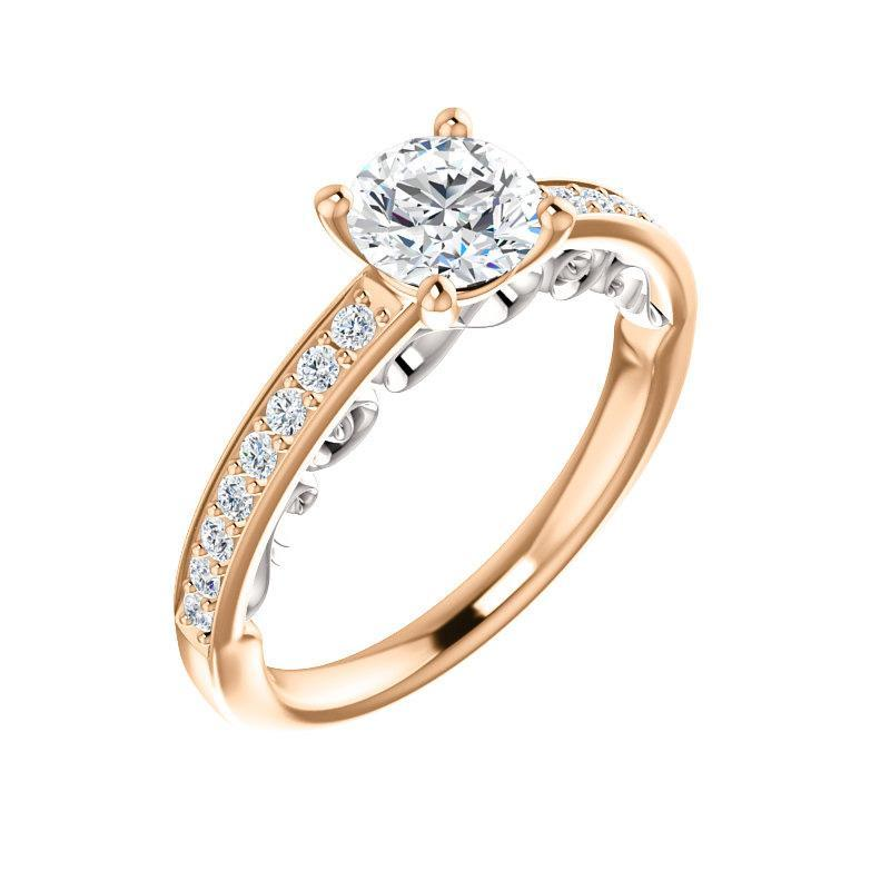 The Amelia Moissanite round moissanite engagement ring solitaire setting rose gold and white accent