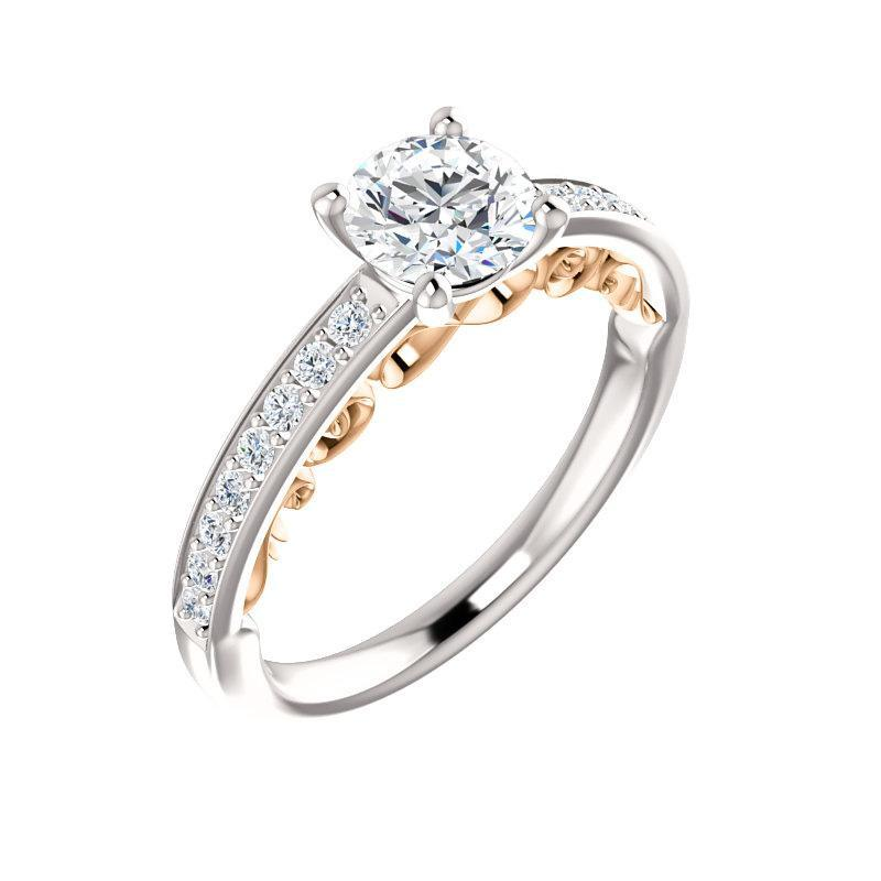 The Amelia Moissanite round moissanite engagement ring solitaire setting white gold and rose gold accent