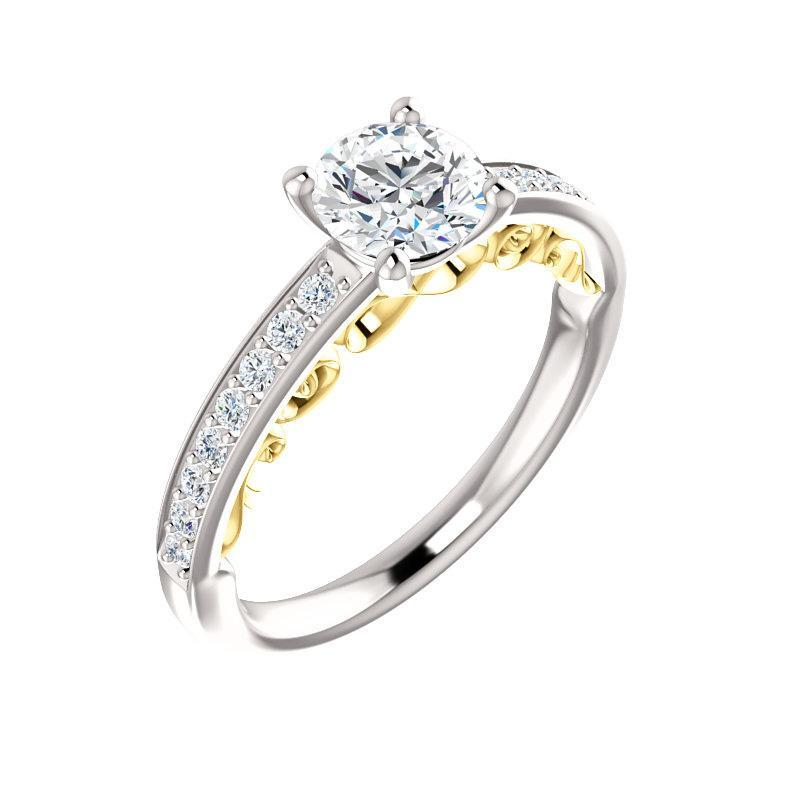 The Amelia Moissanite round moissanite engagement ring solitaire setting white gold and yellow gold accent