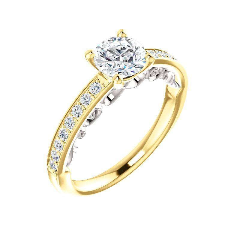 The Amelia Moissanite round moissanite engagement ring solitaire setting yellow gold and white gold accent