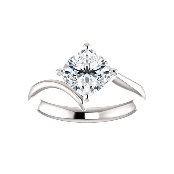 The Interlace Cushion Moissanite Engagement Ring Solitaire Setting White Gold