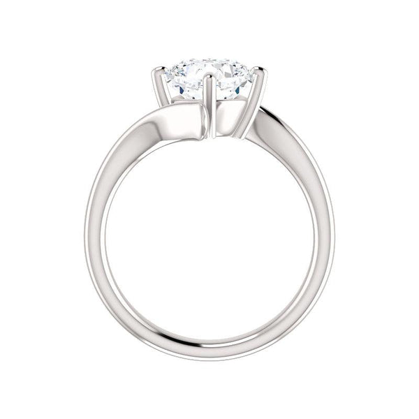 The Interlace Cushion Moissanite Engagement Ring Solitaire Setting White Gold Side Profile