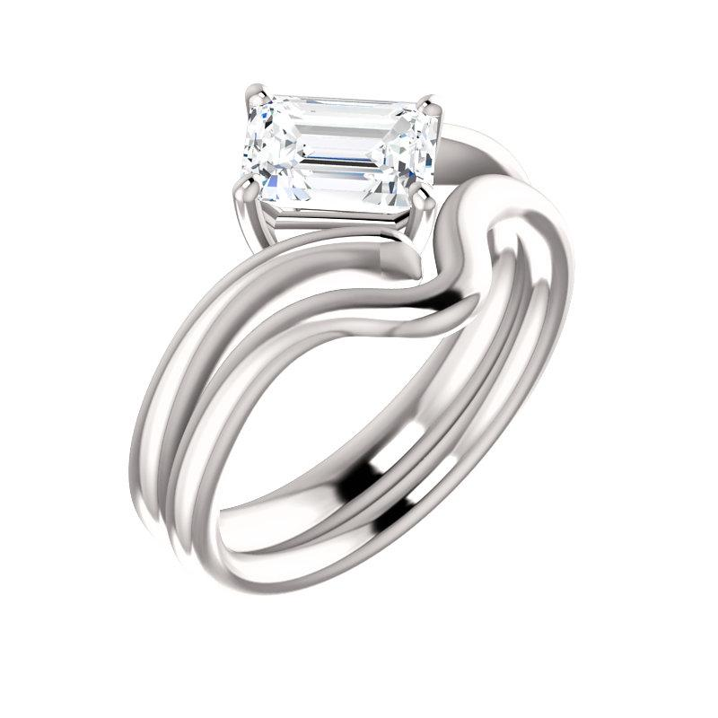 The Interlace Emerald Moissanite Engagement Ring Solitaire Setting White Gold With Matching Band