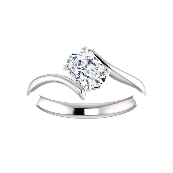 The Interlace Oval Moissanite Engagement Ring Solitaire Setting White Gold