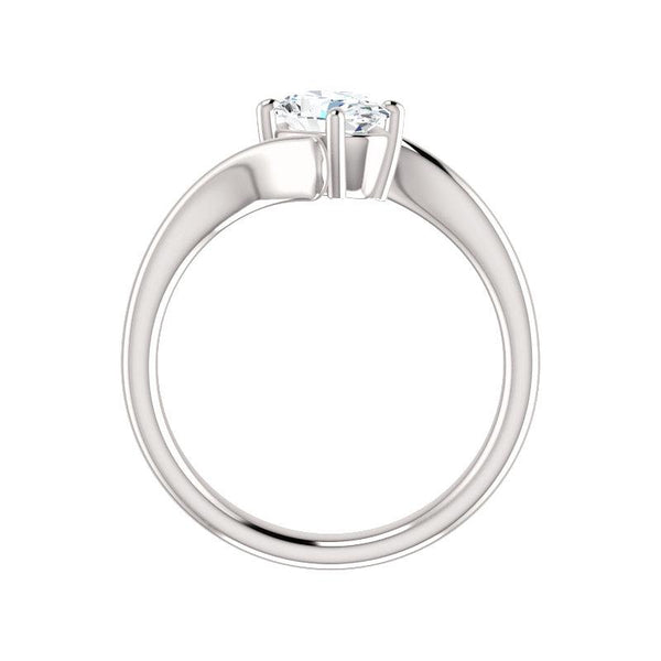 The Interlace Oval Moissanite Engagement Ring Solitaire Setting White Gold Side Profile