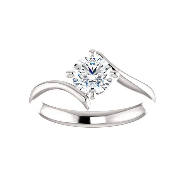 The Interlace Round Moissanite Engagement Ring Solitaire Setting White Gold