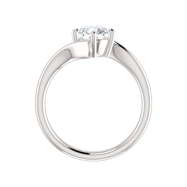 The Interlace Round Moissanite Engagement Ring Solitaire Setting White Gold Side Profile