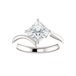 The Interlace Princess Moissanite Engagement Ring Solitaire Setting White Gold