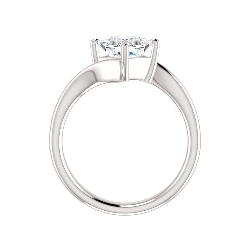 The Interlace Princess Moissanite Engagement Ring Solitaire Setting White Gold Side Profile