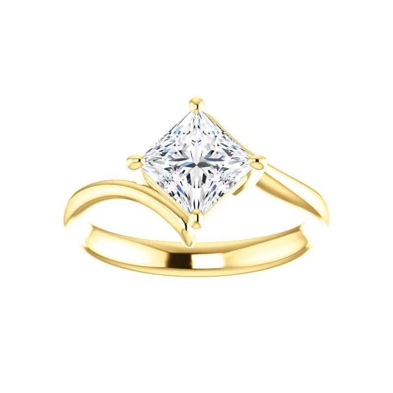 The Interlace Princess Moissanite Engagement Ring Solitaire Setting Yellow Gold