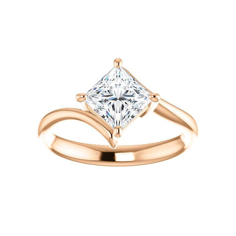 The Interlace Princess Moissanite Engagement Ring Solitaire Setting Rose Gold