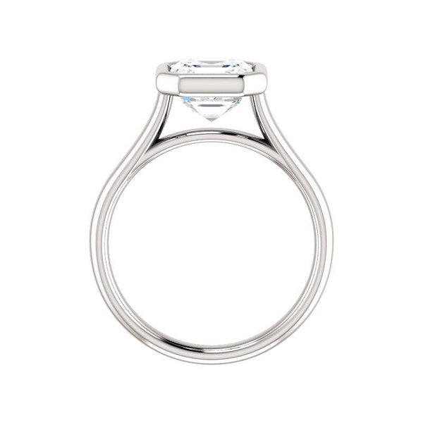 The Debra Asscher Moissanite Engagement Ring Rope Solitaire Setting White Gold Side Profile