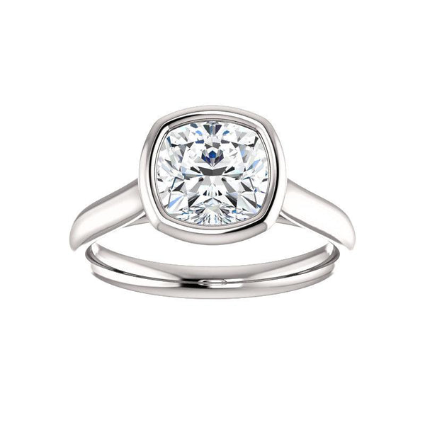 The Debra Cushion Moissanite Engagement Ring Rope Solitaire Setting White Gold