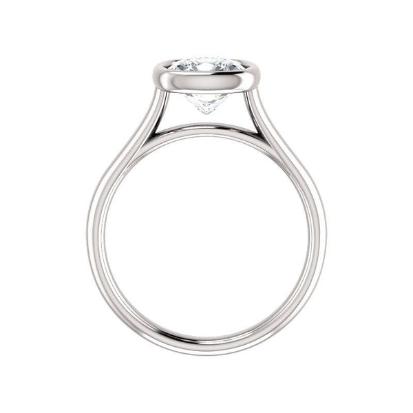 The Debra Cushion Moissanite Engagement Ring Rope Solitaire Setting White Gold Side Profile