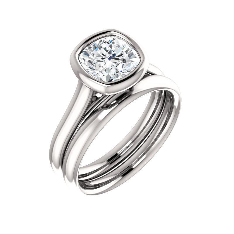 The Debra Cushion Moissanite Engagement Ring Rope Solitaire Setting White Gold With Matching Band