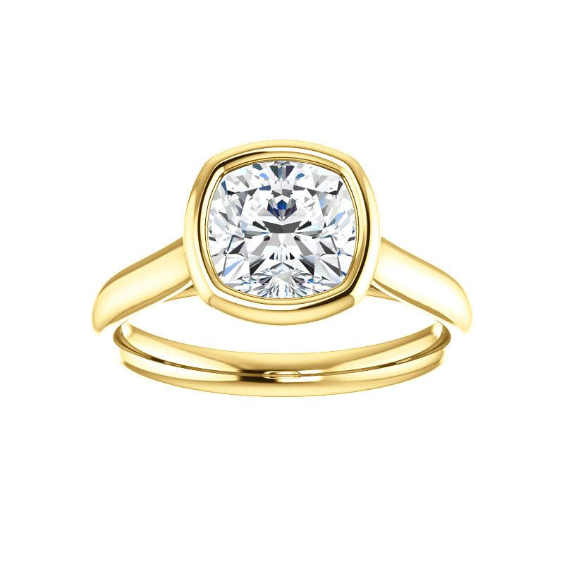 The Debra Cushion Moissanite Engagement Ring Rope Solitaire Setting Yellow Gold
