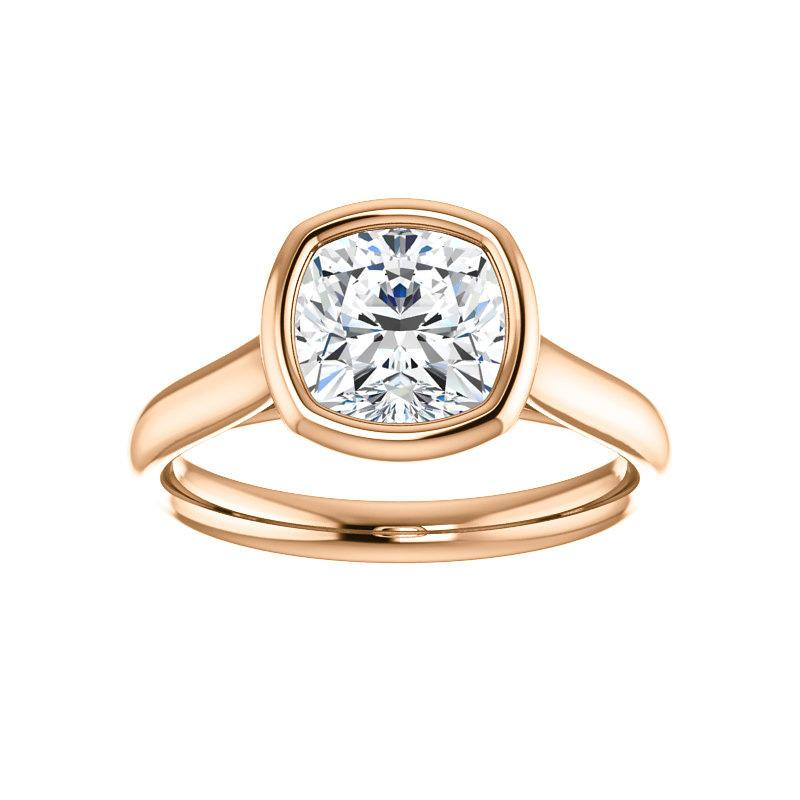 The Debra Cushion Moissanite Engagement Ring Rope Solitaire Setting Rose Gold