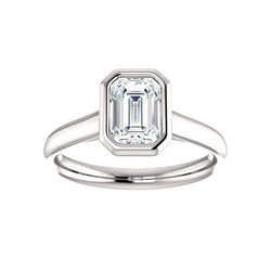 The Debra Emerald Moissanite Engagement Ring Rope Solitaire Setting White Gold