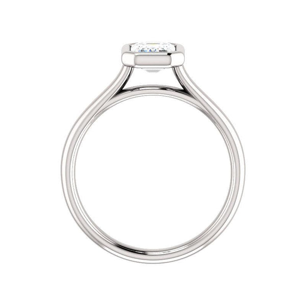 The Debra Emerald Moissanite Engagement Ring Rope Solitaire Setting White Gold Side Profile