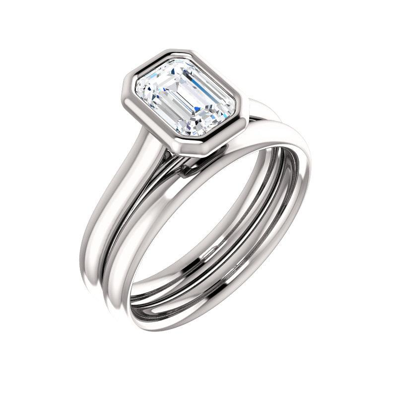 The Debra Emerald Moissanite Engagement Ring Rope Solitaire Setting White Gold With Matching Band