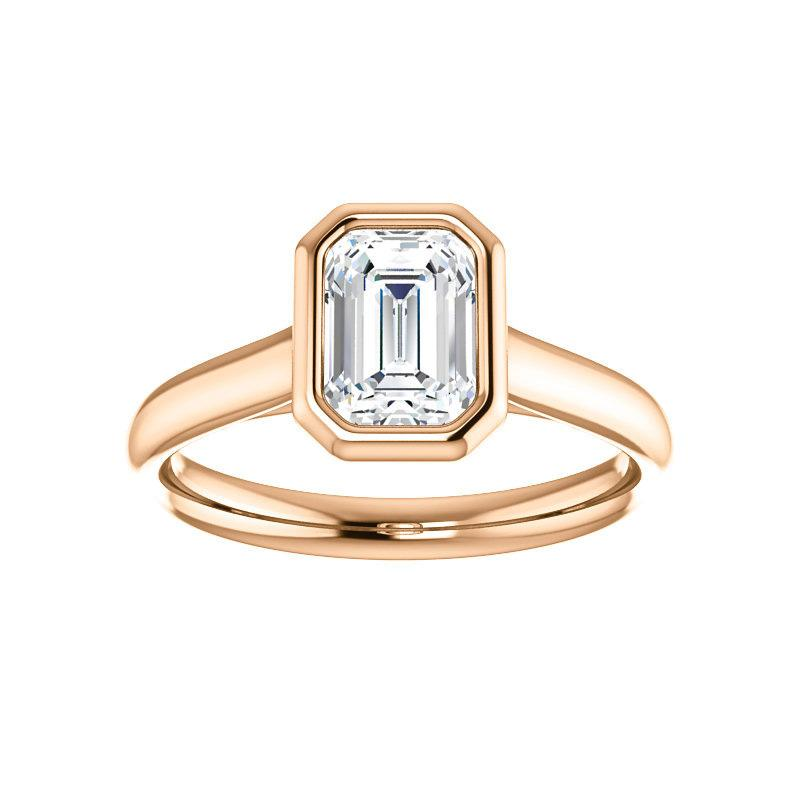 The Debra Emerald Moissanite Engagement Ring Rope Solitaire Setting Rose Gold
