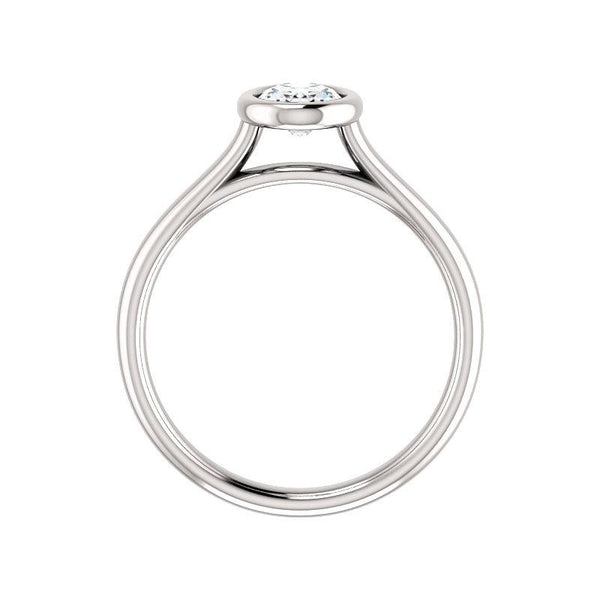 The Debra Oval Moissanite Engagement Ring Rope Solitaire Setting White Gold Side Profile