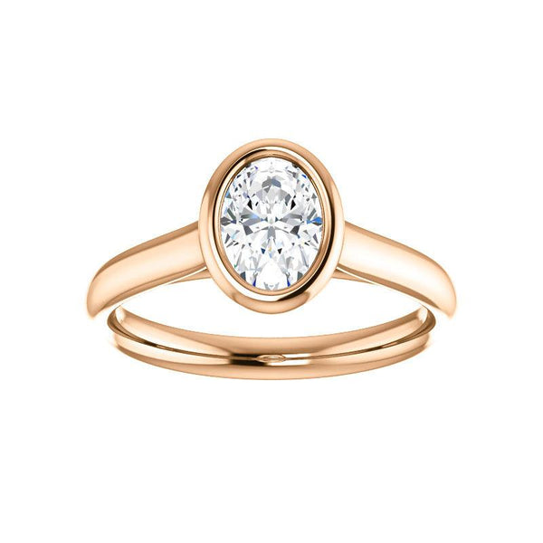 The Debra Oval Moissanite Engagement Ring Rope Solitaire Setting Rose Gold