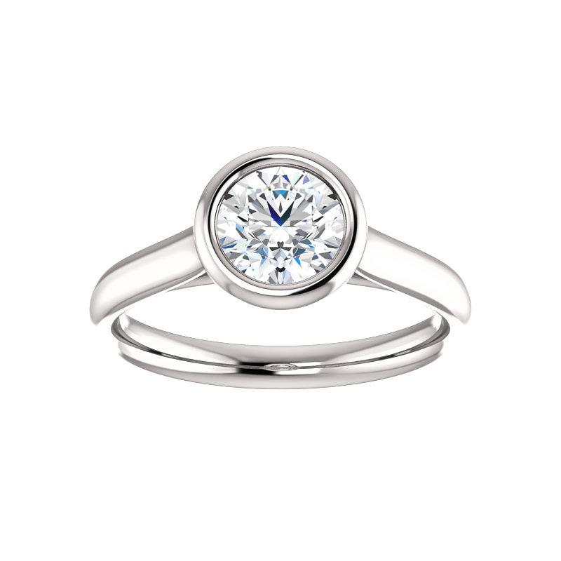 The Debra Round Moissanite Engagement Ring Rope Solitaire Setting White Gold