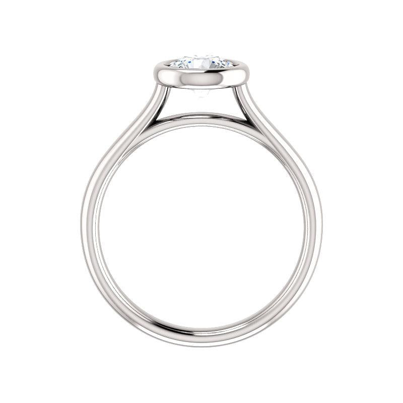 The Debra Round Moissanite Engagement Ring Rope Solitaire Setting White Gold Side Profile