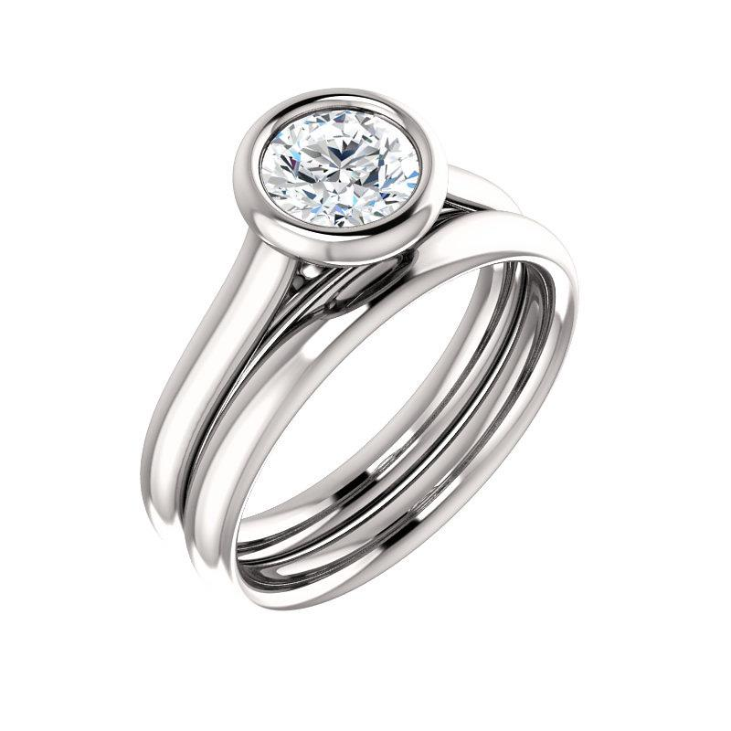 The Debra Round Moissanite Engagement Ring Rope Solitaire Setting White Gold With Matching Band