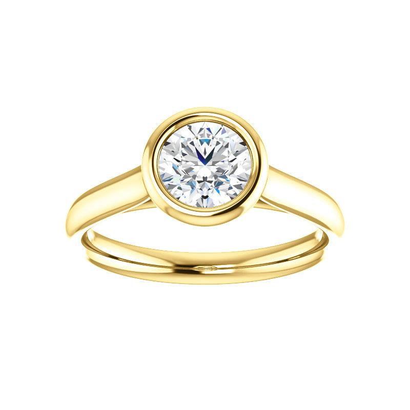 The Debra Round Moissanite Engagement Ring Rope Solitaire Setting Yellow Gold