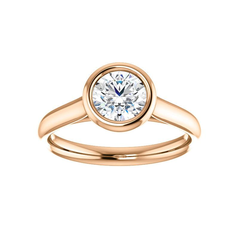 The Debra Round Moissanite Engagement Ring Rope Solitaire Setting Rose Gold