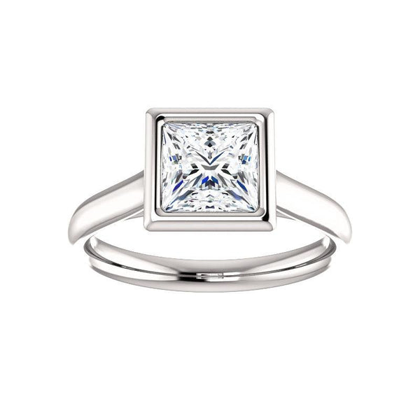 The Debra Princess Moissanite Engagement Ring Rope Solitaire Setting White Gold