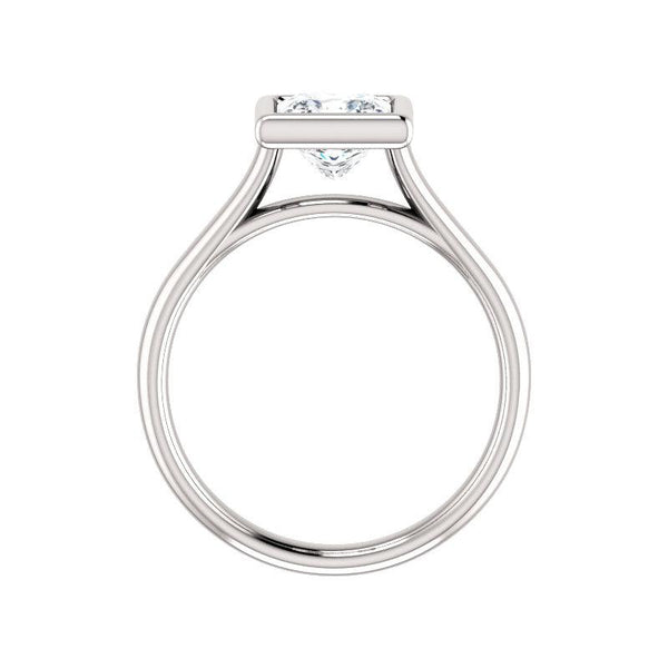The Debra Princess Moissanite Engagement Ring Rope Solitaire Setting White Gold Side Profile