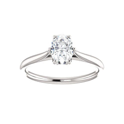 The Teresa Oval Moissanite Engagement Ring High Polished Solitaire Setting White Gold