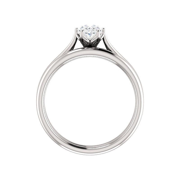The Teresa Oval Moissanite Engagement Ring High Polished Solitaire Setting White Gold Side Profile