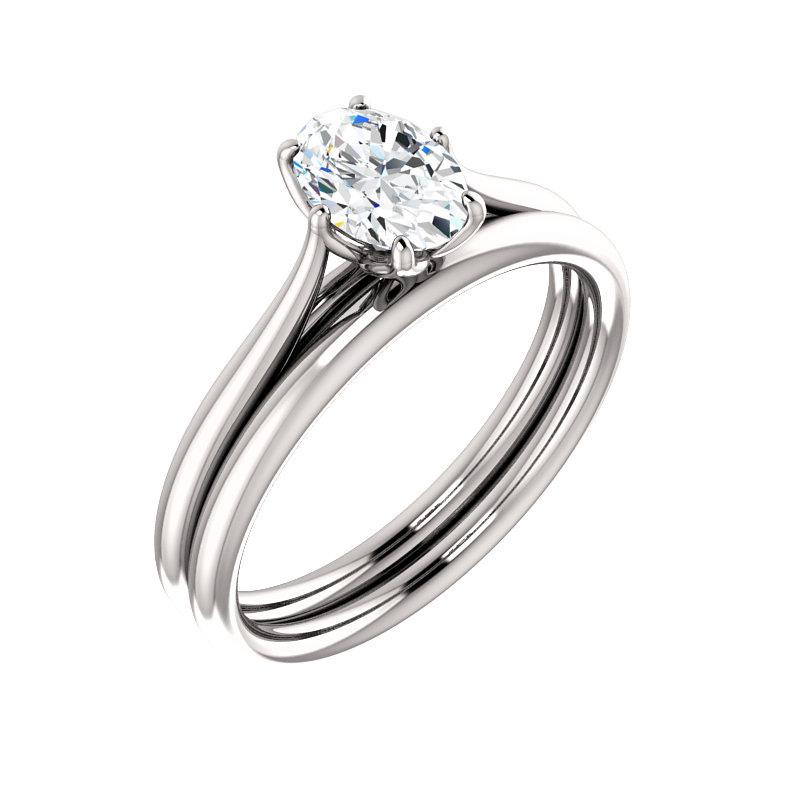 The Teresa Oval Moissanite Engagement Ring High Polished Solitaire Setting White Gold With Matching Band