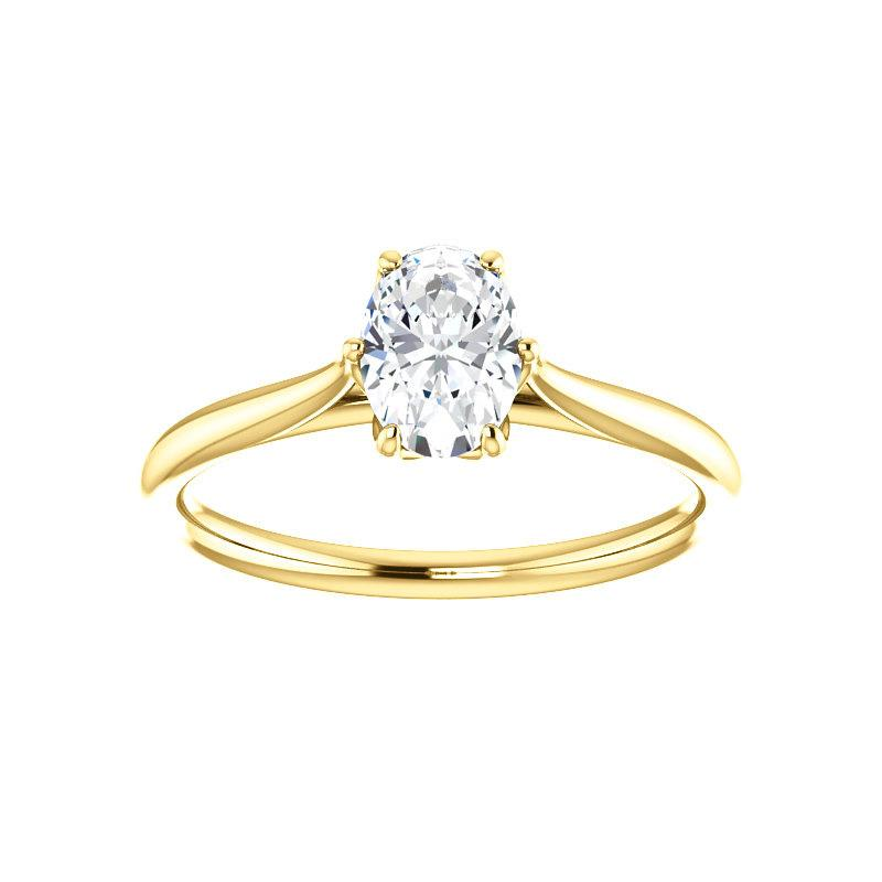 The Teresa Oval Moissanite Engagement Ring High Polished Solitaire Setting Yellow Gold