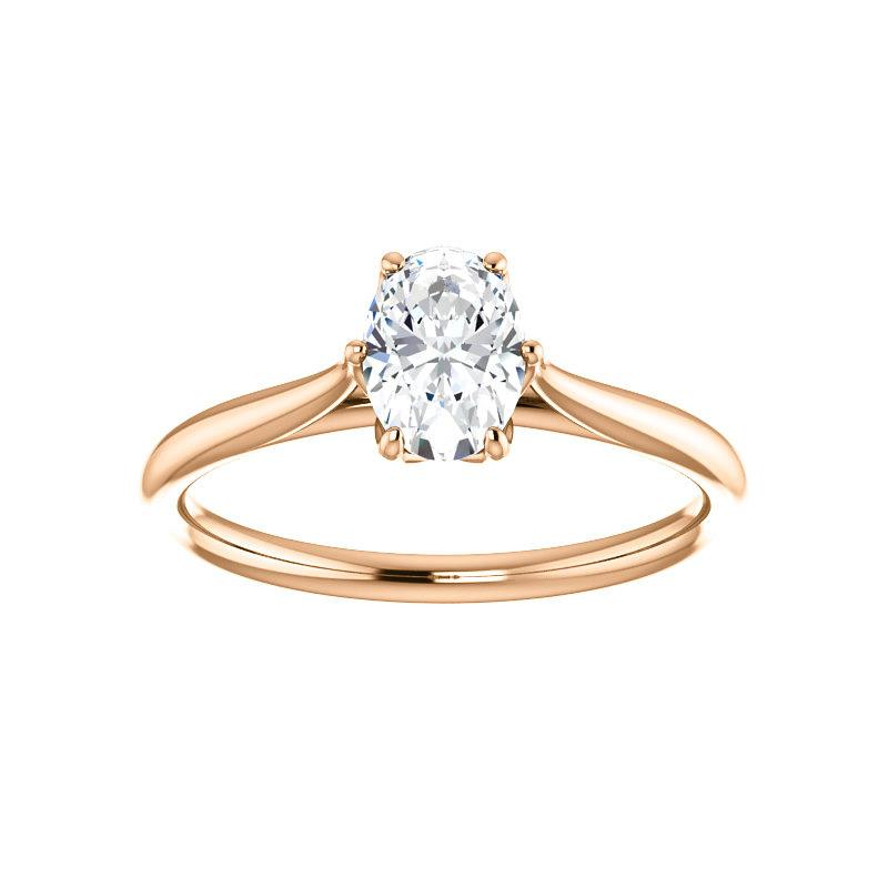 The Teresa Oval Moissanite Engagement Ring High Polished Solitaire Setting Rose Gold