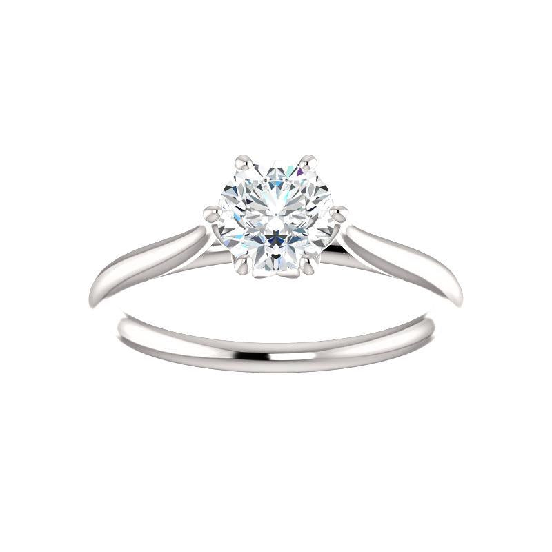 The Teresa Round Moissanite Engagement Ring High Polished Solitaire Setting White Gold