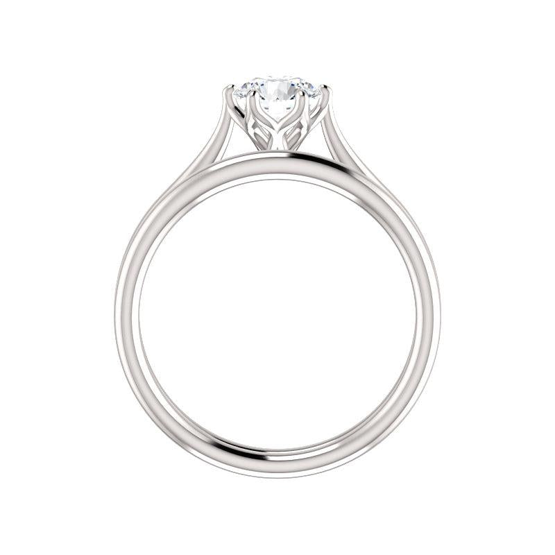 The Teresa Round Moissanite Engagement Ring High Polished Solitaire Setting White Gold Side Profile