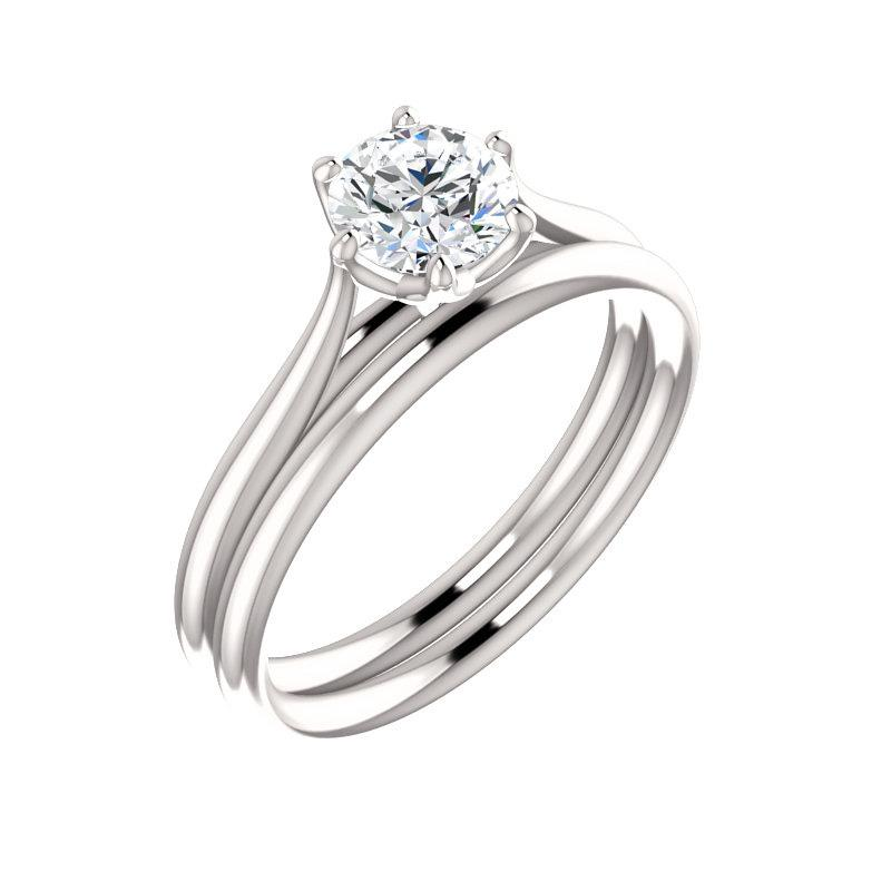 The Teresa Round Moissanite Engagement Ring High Polished Solitaire Setting White Gold With Matching Band