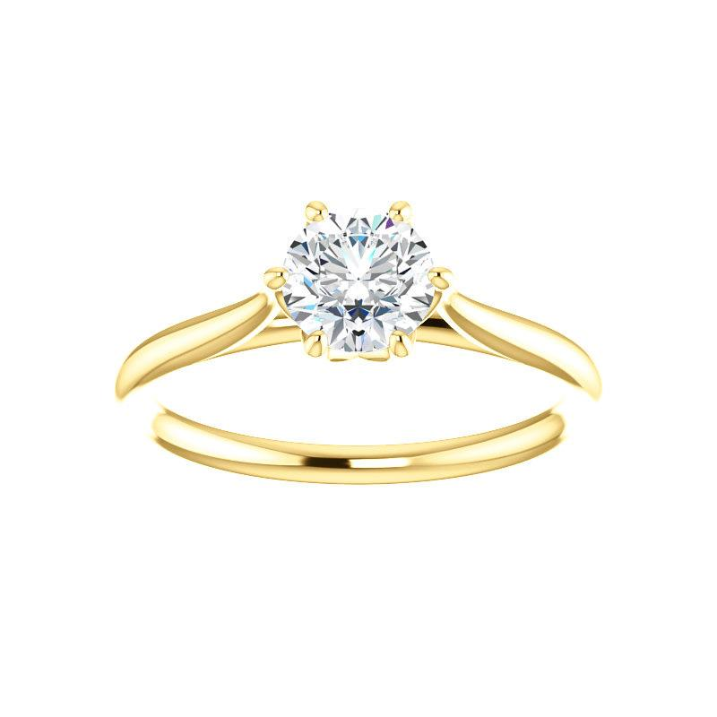 The Teresa Round Moissanite Engagement Ring High Polished Solitaire Setting Yellow Gold