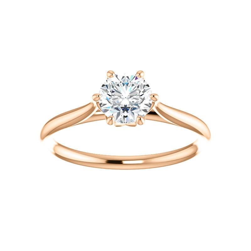 The Teresa Round Moissanite Engagement Ring High Polished Solitaire Setting Rose Gold