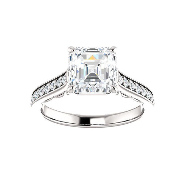 The Andrea Moissanite asscher diamond engagement ring solitaire setting white gold