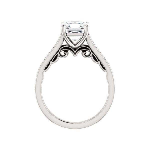 The Andrea Moissanite asscher diamond engagement ring solitaire setting white gold side profile