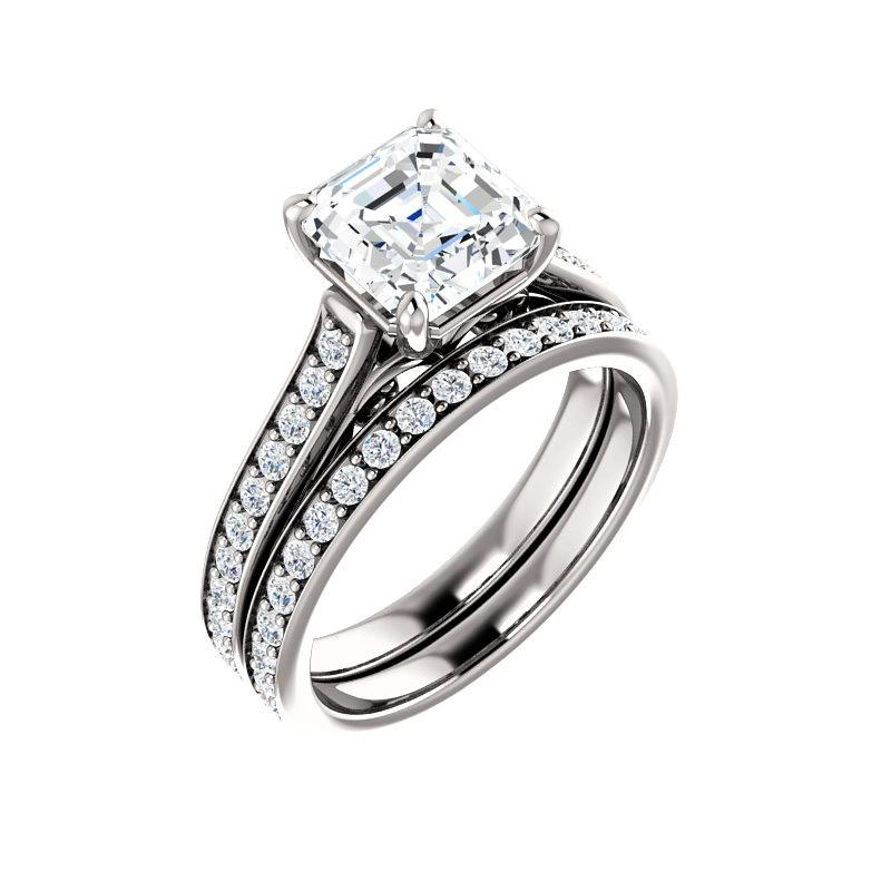 The Andrea Moissanite asscher diamond engagement ring solitaire setting white gold with matching band
