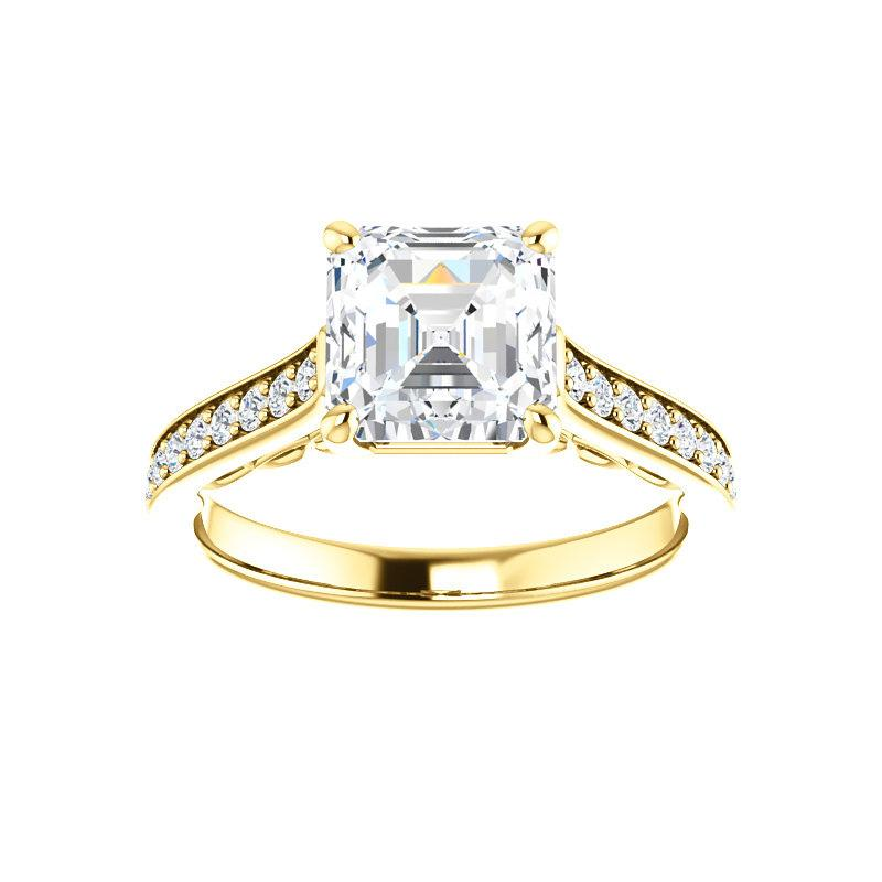 The Andrea Moissanite asscher diamond engagement ring solitaire setting yellow gold