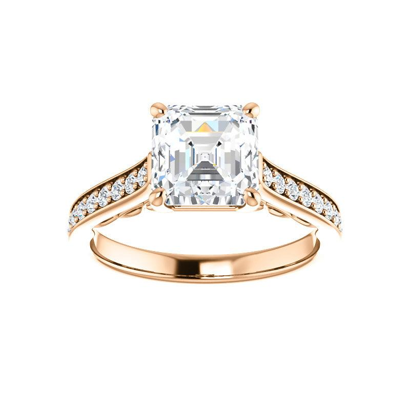 The Andrea Moissanite asscher diamond engagement ring solitaire setting rose gold