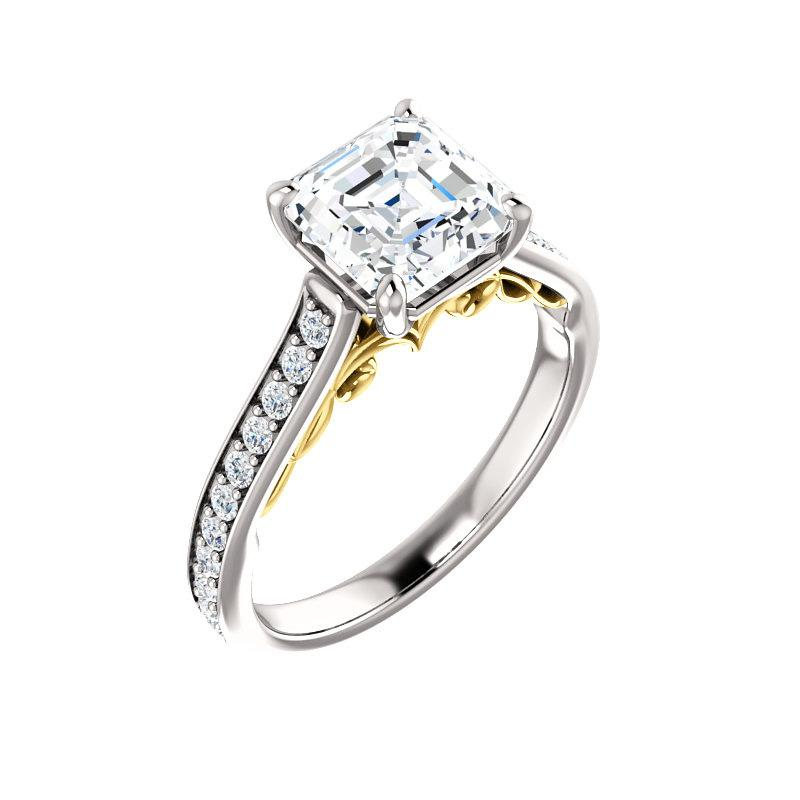 The Andrea Moissanite asscher diamond engagement ring solitaire setting white gold and yellow gold accent